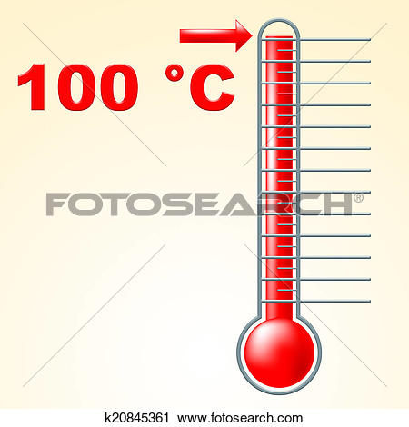 Clipart of One Hundred Degrees Shows Mercury Column And Boiling.