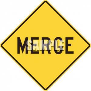 Merge Road Sign.