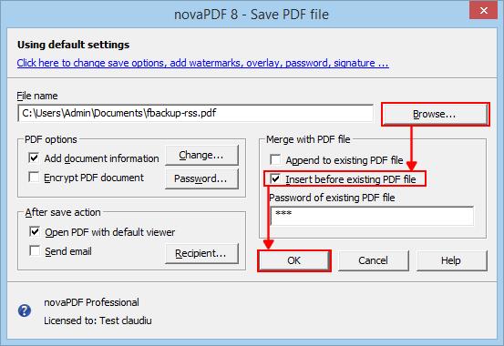 Merge PDF files with novaPDF.