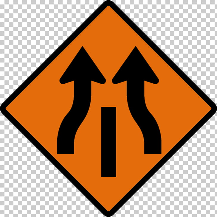 Warning sign Lane Merge Road, Road Sign PNG clipart.