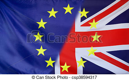 Clipart of European Flag merged with Great Britain Flag.