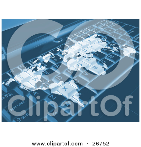 Clipart Illustration of a White World Map Merged On A Teal Laptop.