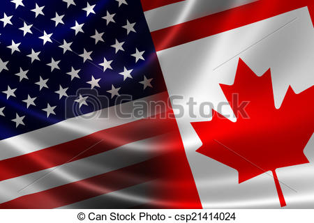 Clip Art of Merged Flag of Canada and USA.