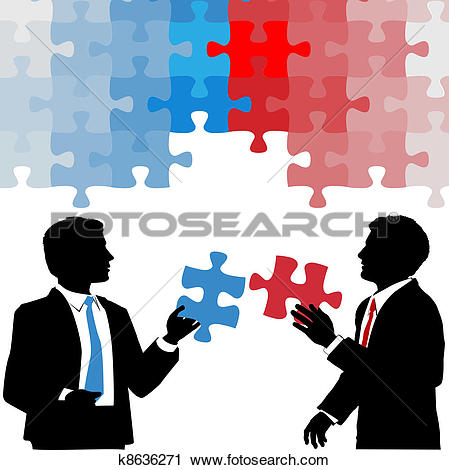 Clip Art of Business people puzzle piece solution collaboration.