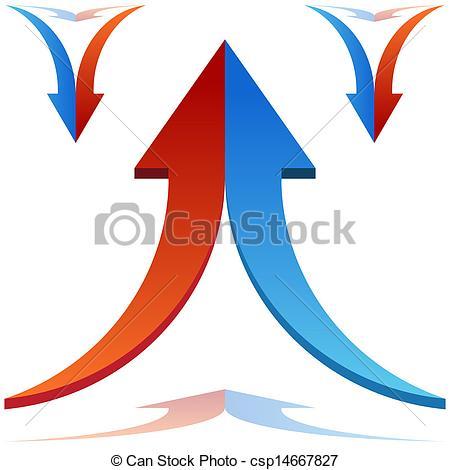 Vector Illustration of Split Arrows Joining.