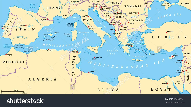 Region Lands Around Mediterranean Sea South Stock Vector 276508841.