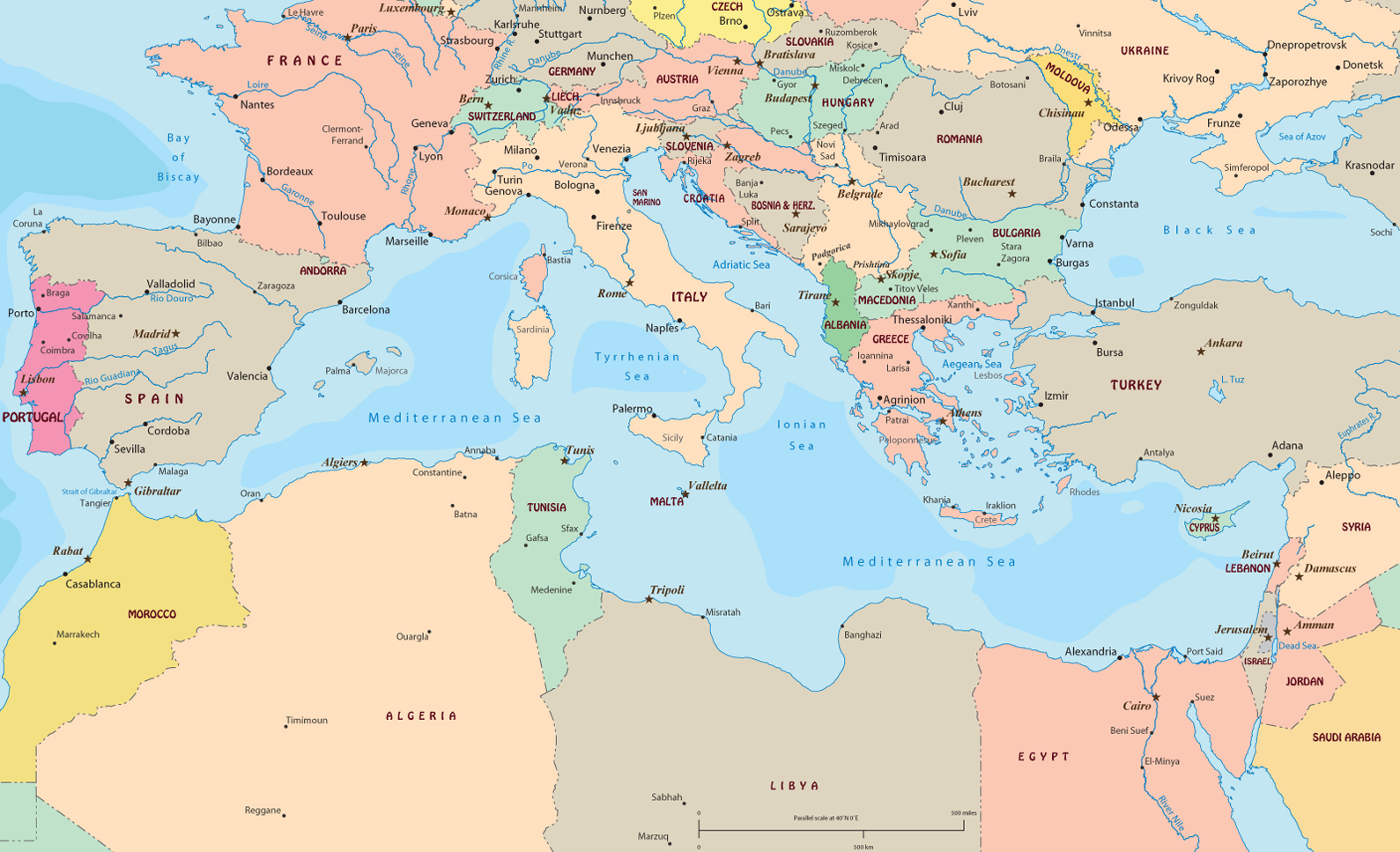 World Map Mediterranean Sea Political Of Region Maps.