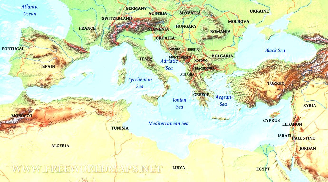 World Map Mediterranean Sea Physical.