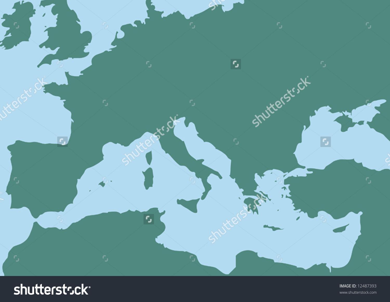 Vector Map Mediterranean Sea Stock Vector 12487393.