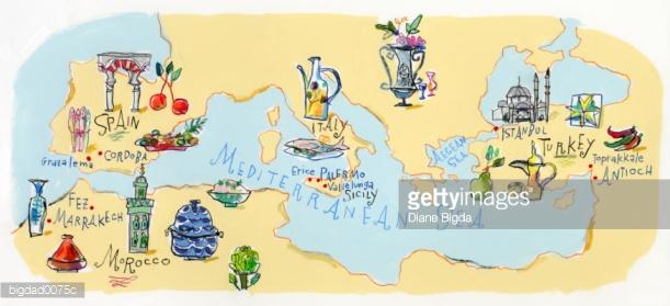 Mediterranean Sea Stock Illustration.