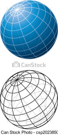 Vector Clipart of Blue Sphere With Meridians.