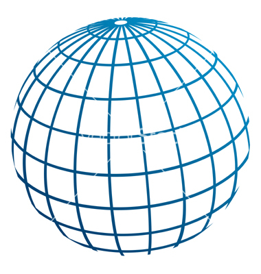 Globe meridians vector.