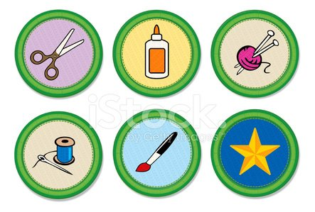 Craft Merit Badges Clipart Image.