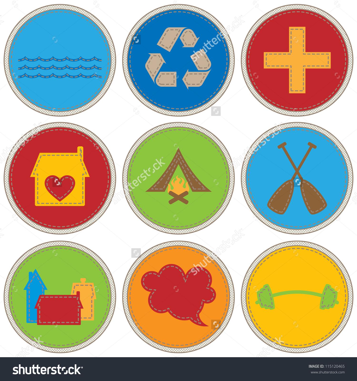 Boy scout merit badges clipart.