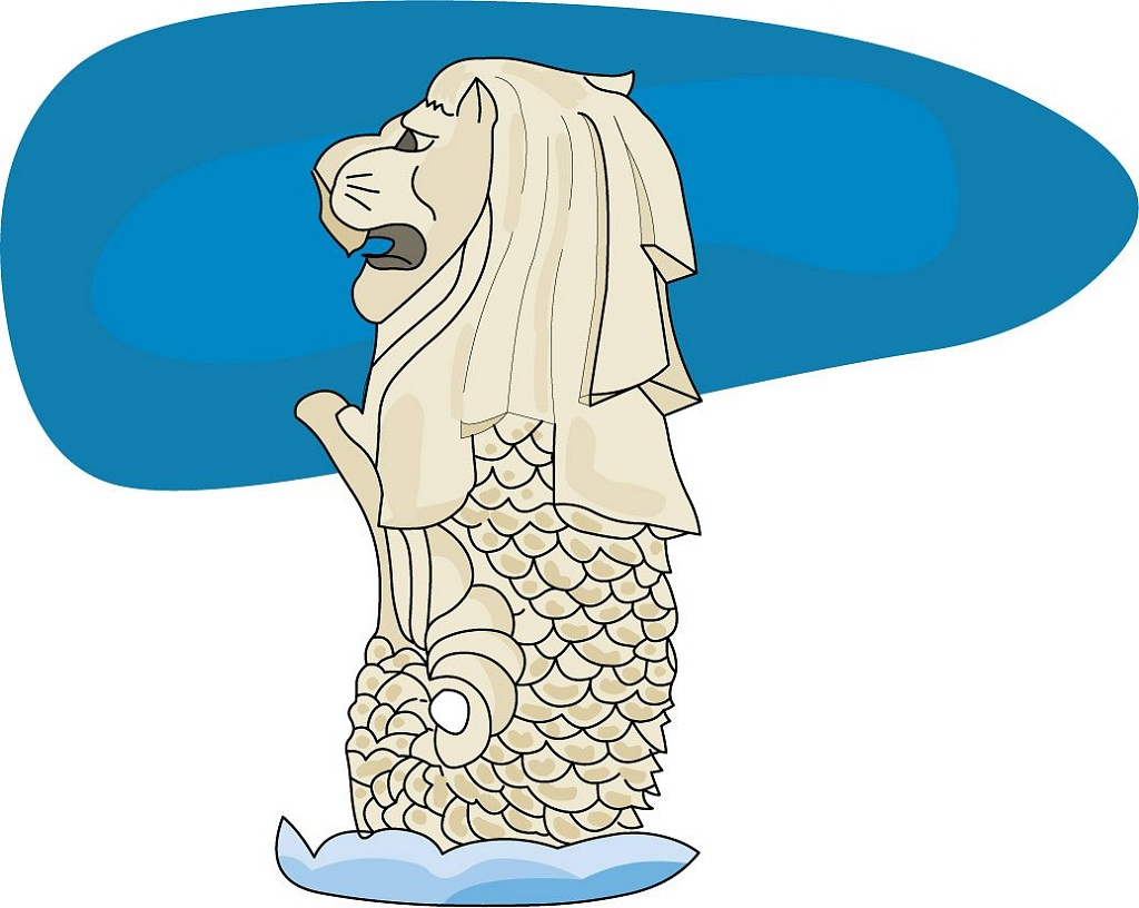 Merlion Singapore Clipart.