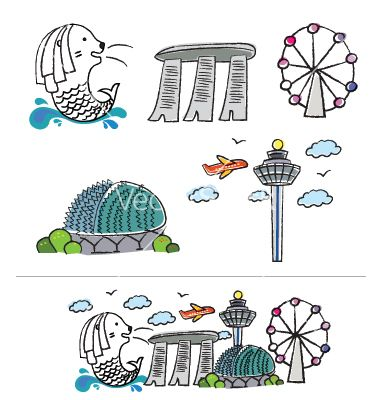 singapore icons merlion.