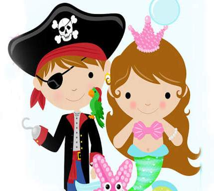 Mermaid and pirate clipart.