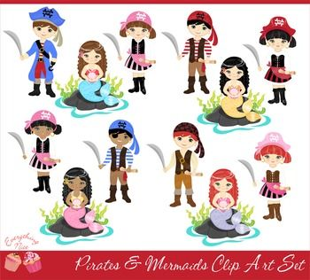 Pirates and Mermaids Clipart Set.