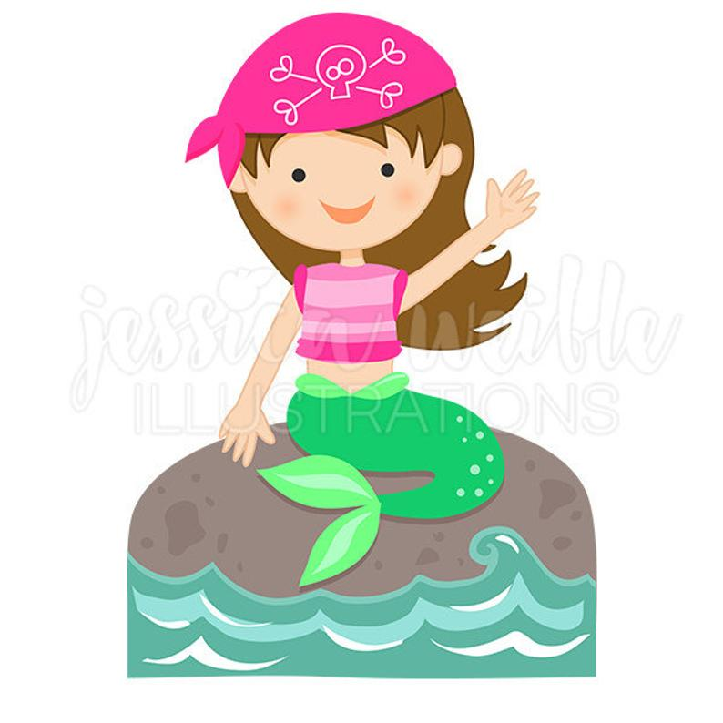Pirate Mermaid Cute Digital Clipart, Mermaid Clip art, Mermaid Graphics,  Mermaid Illustration, #1585.