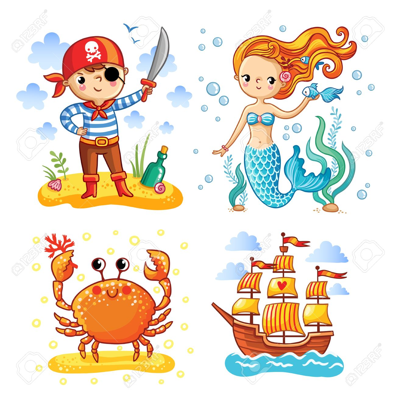 Set of vector illustrations on the theme of the sea and summer.