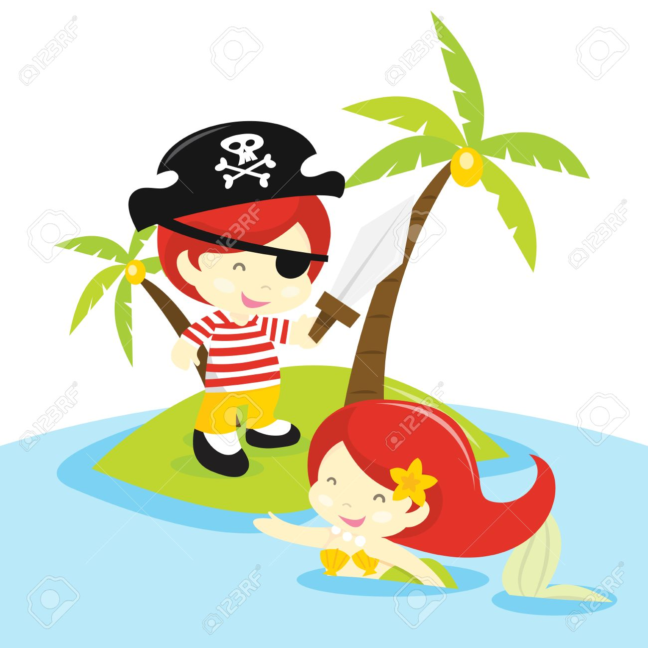A cartoon vector illustration of a pirate boy and pretty mermaid...