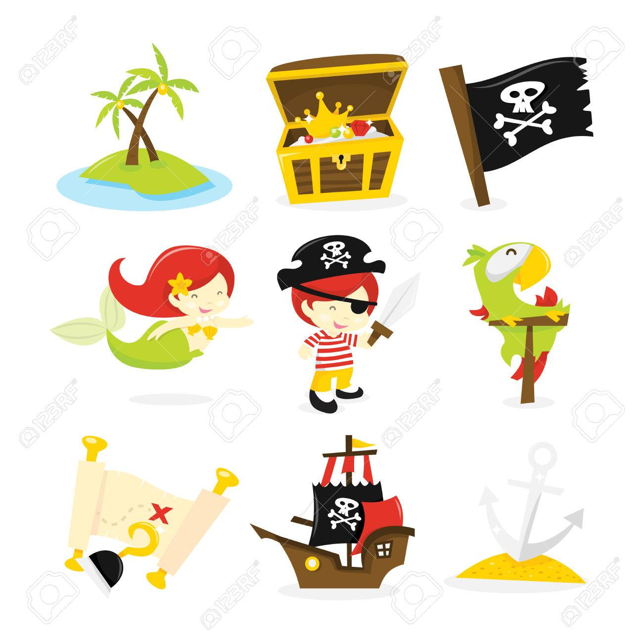 A vector illustration of pirate, mermaid and treasure island...