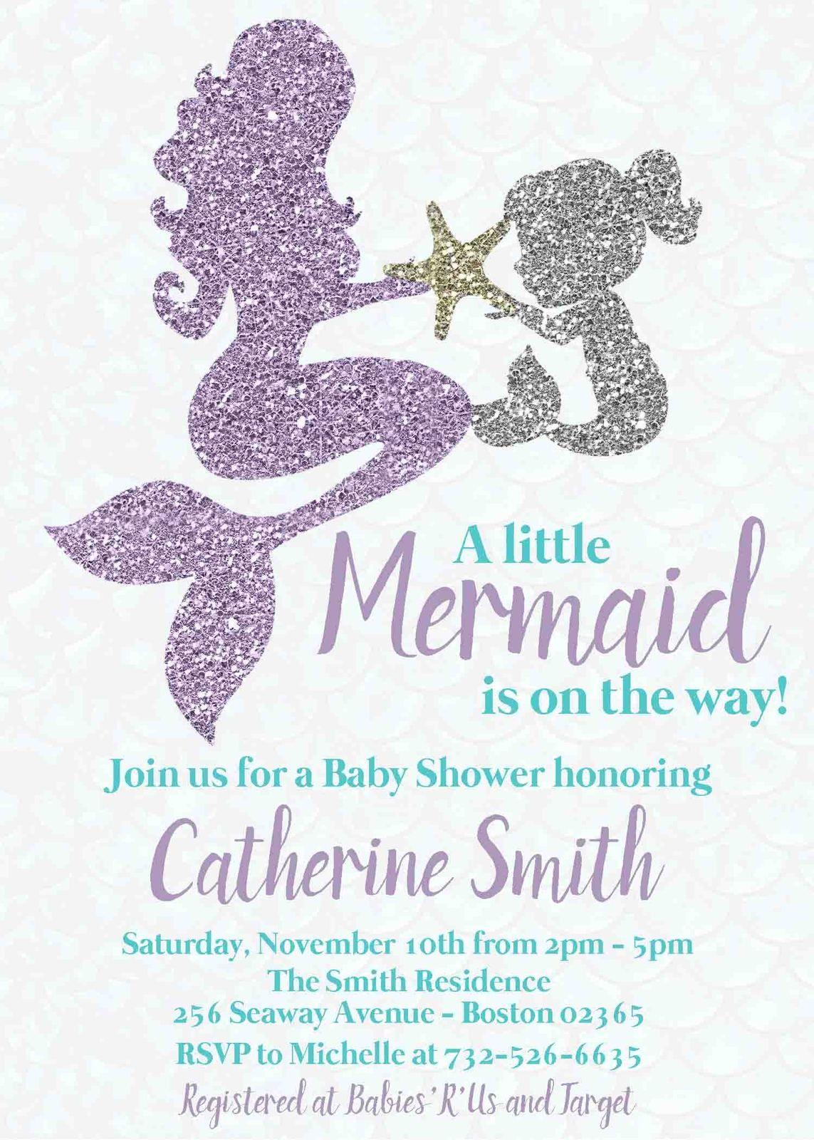 Teal and Lavender Glitter Mermaid.