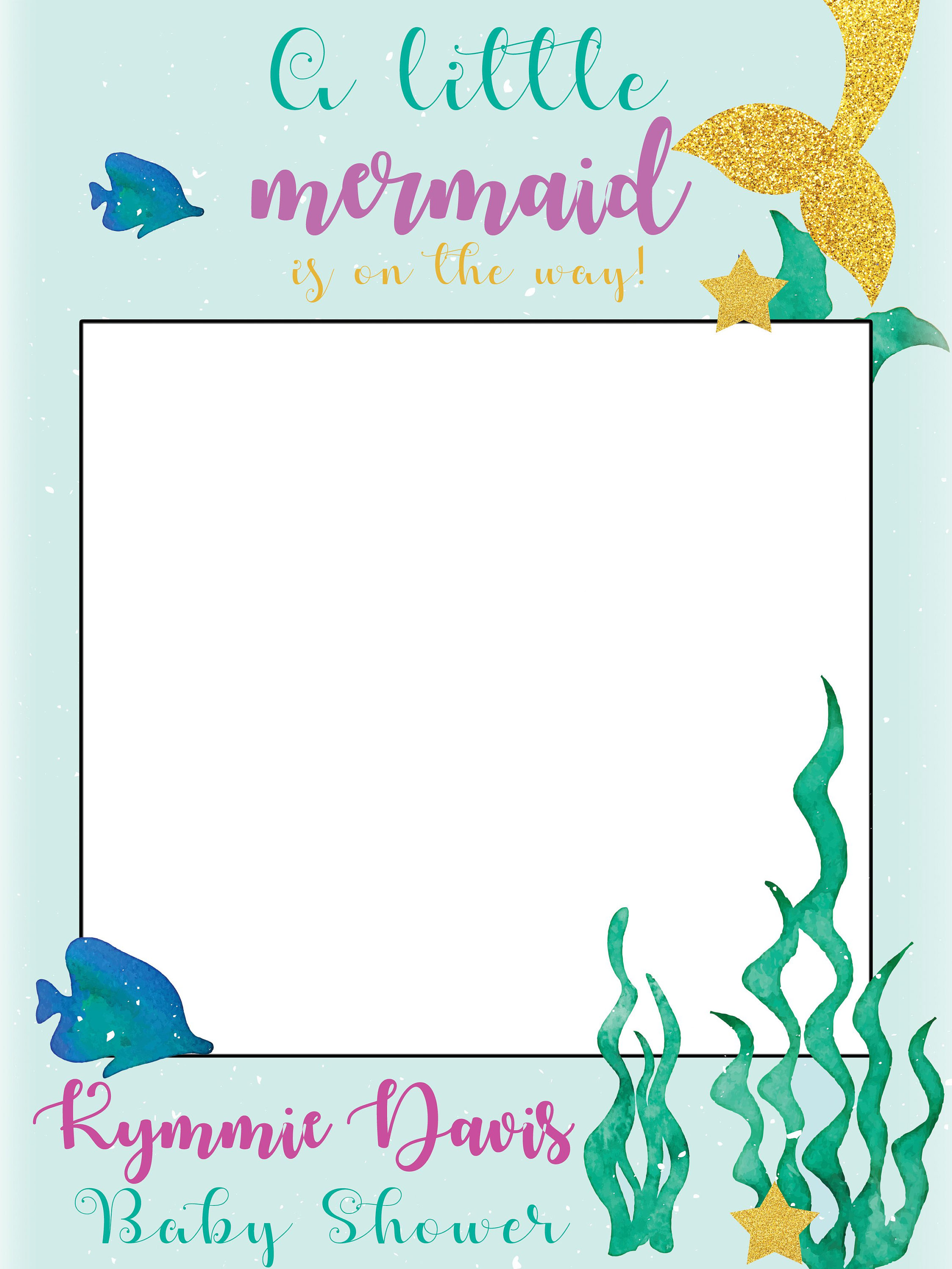 Large custom Mermaid Baby Shower photo booth prop frame, Little Mermaid  Baby Shower, Whimsical Mermaid Under The Sea Baby Shower ;10011292 sold by.