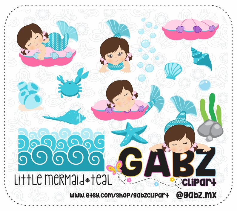 Little Mermaid, Teal, Baby Shower, Clipart, Baby Girl, Background, Baby  Shower Girl, Baby Mermaid, Mermaid, Gabz.