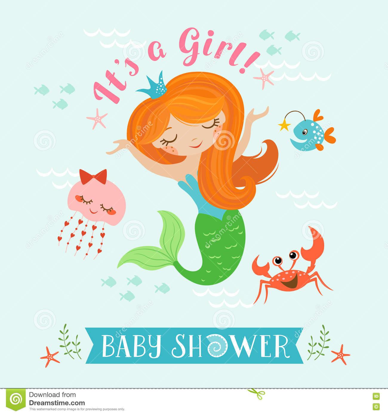 Mermaid baby shower stock vector. Illustration of mermaid.
