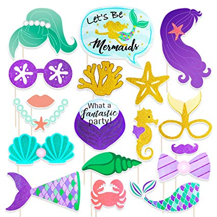 TINKSKY Mermaid Photo Booth Props 18 Pack Baby Shower Birthday Photo Props  Fully Assembled Creative Mermaid Party Decorations,Perfect for Girls.