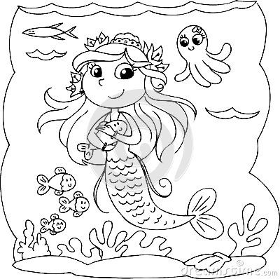 mermaid black and white clipart