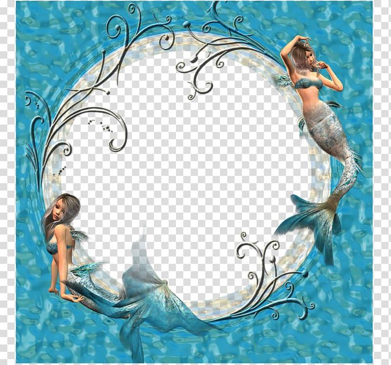 The Little Mermaid, Blue Mermaid border transparent.