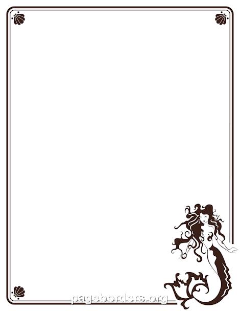 Mermaid Border: Clip Art, Page Border, and Vector Graphics.