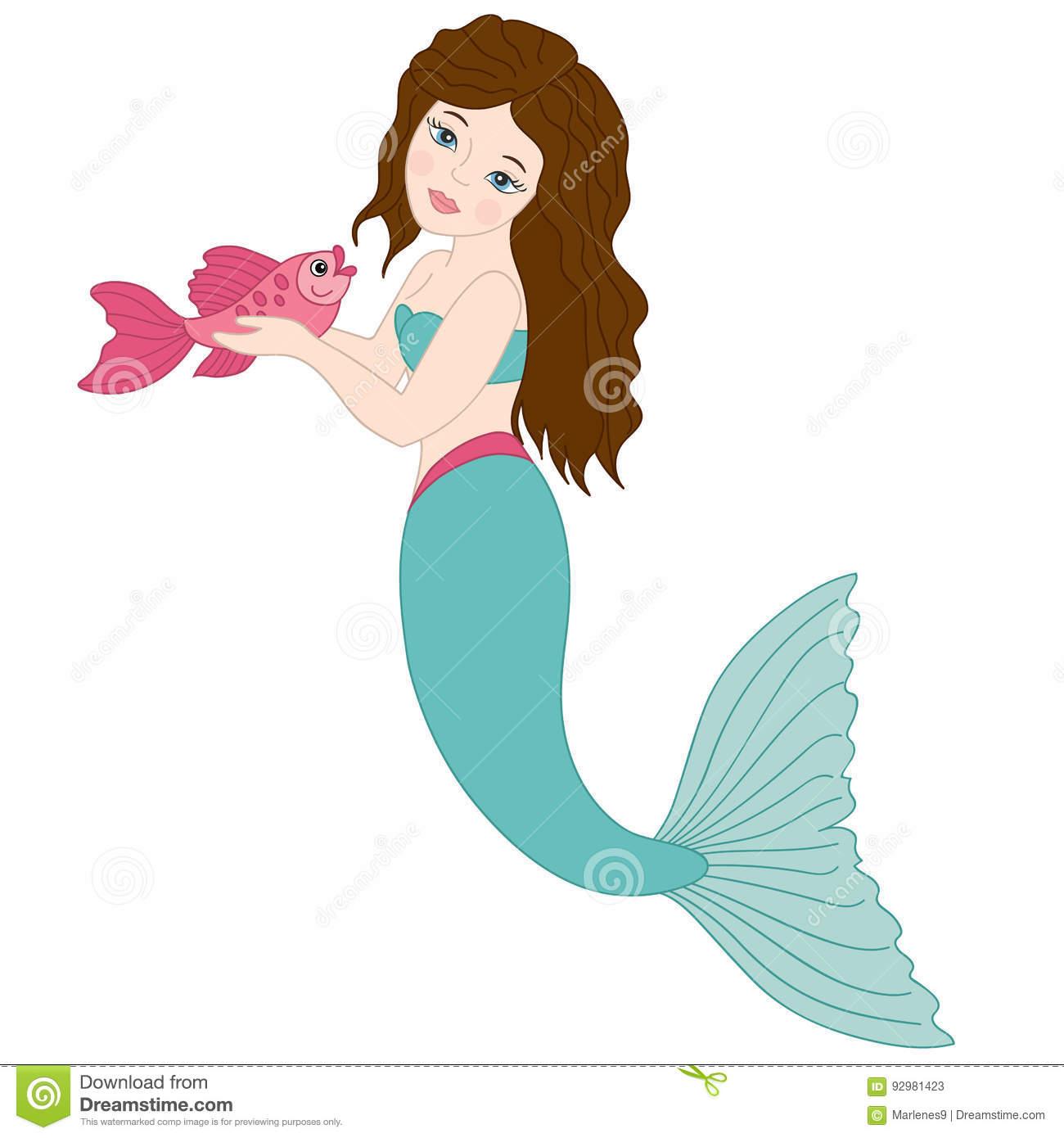 Vector Mermaid With Fish, Mermaid Clipart Stock Vector.