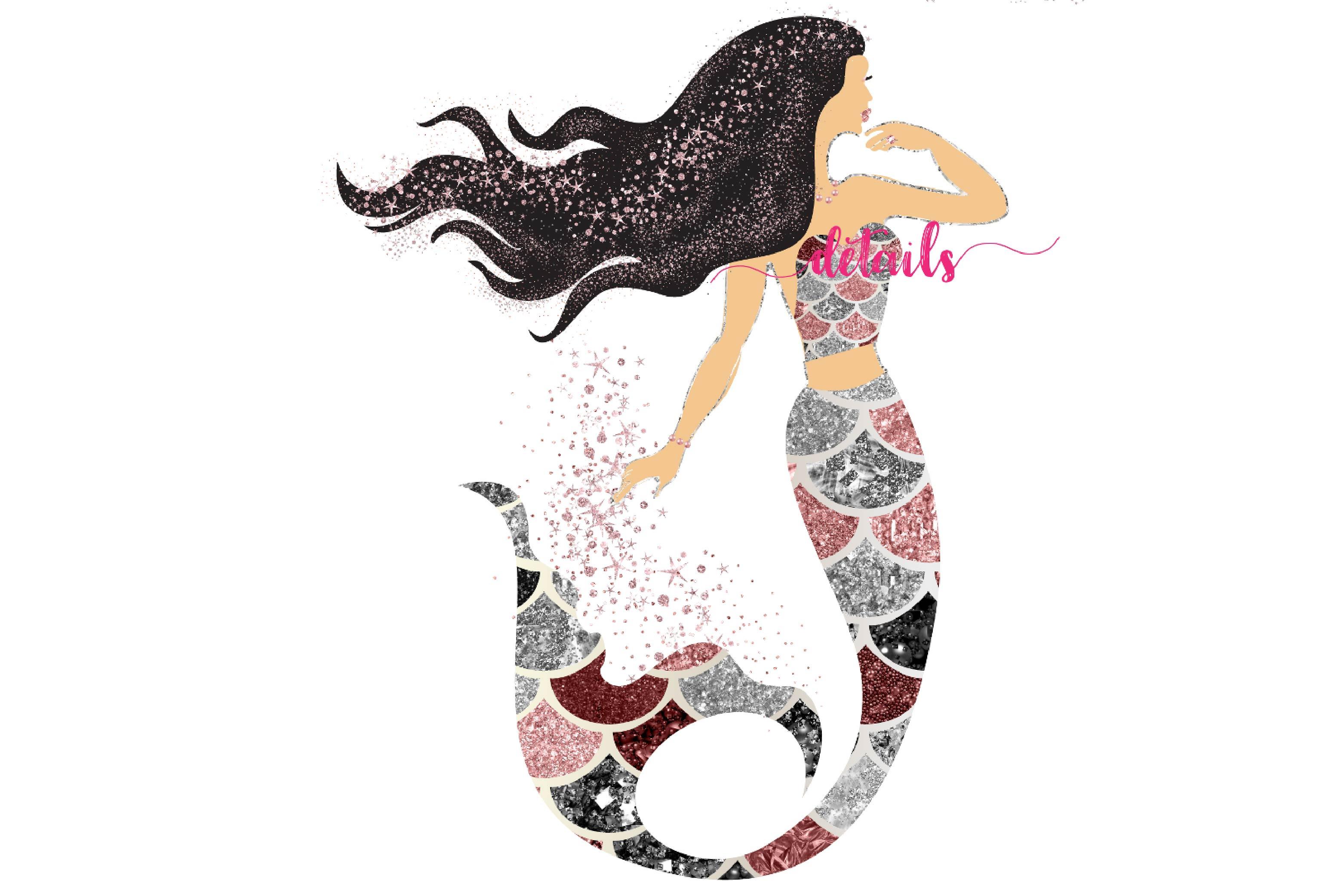 Glitter Mermaids Clipart.