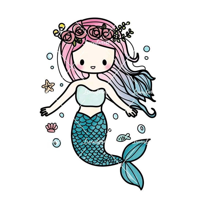 Mermaid Clipart, digital clipart, summer clipart, mermaid digital download,  digital scrapbooking, hand drawn clipart, doodle clipart, ocean.