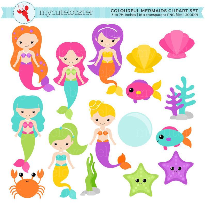 Colorful Mermaids Clipart Set.