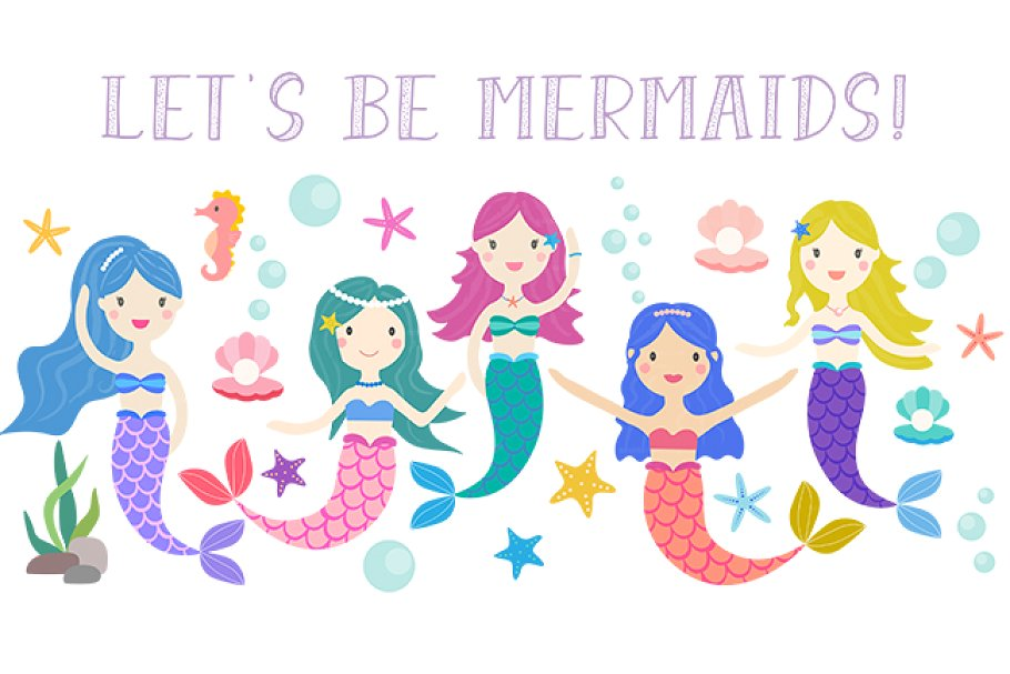 Let's be mermaids clipart.