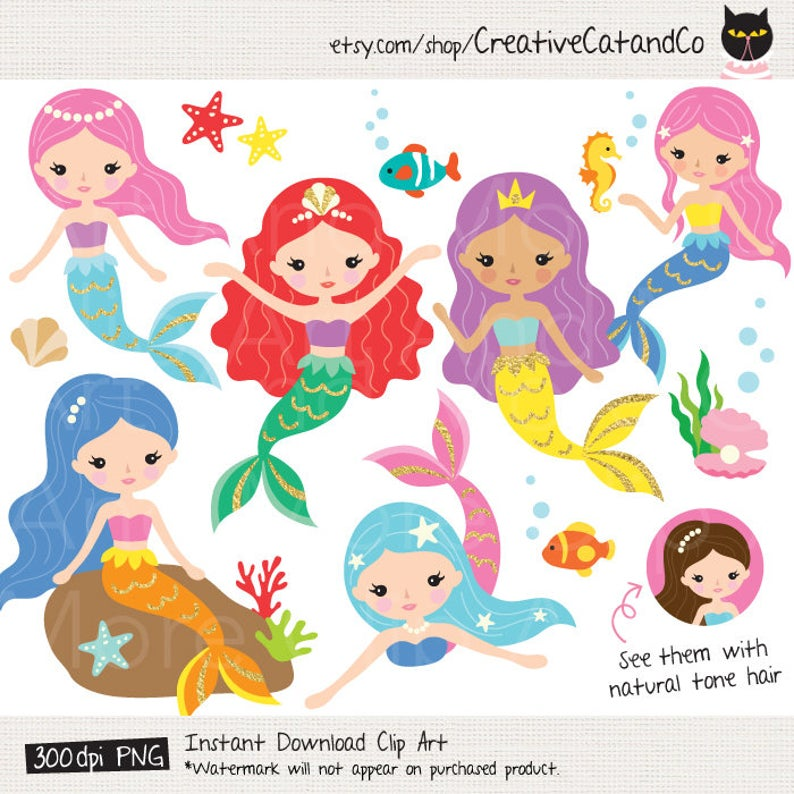Mermaid Clipart Cute Mermaid Clipart Gold Mermaid Clipart Colorful Mermaid  Clipart Under the Sea Clipart Mermaid Princess Clipart.
