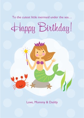 Printable Mermaid Birthday Card Template.