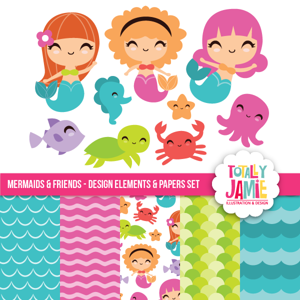 Mermaids And Friends Set.
