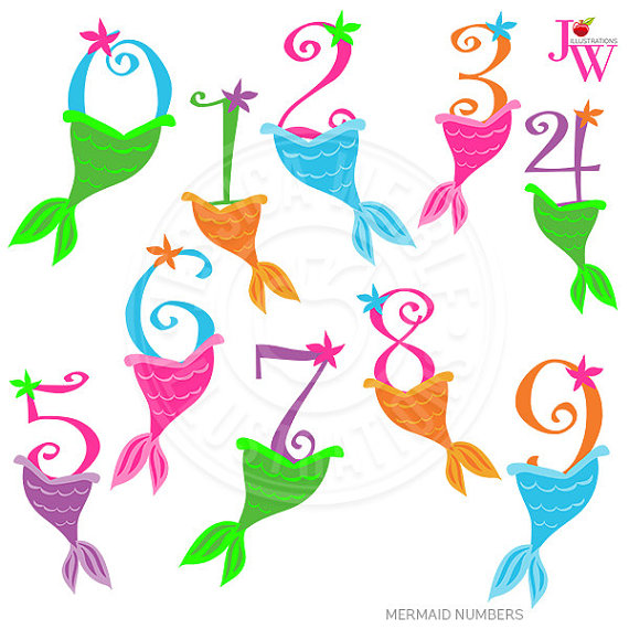 Mermaid Numbers Cute Digital Clipart, Numbers with Mermaid Tails.