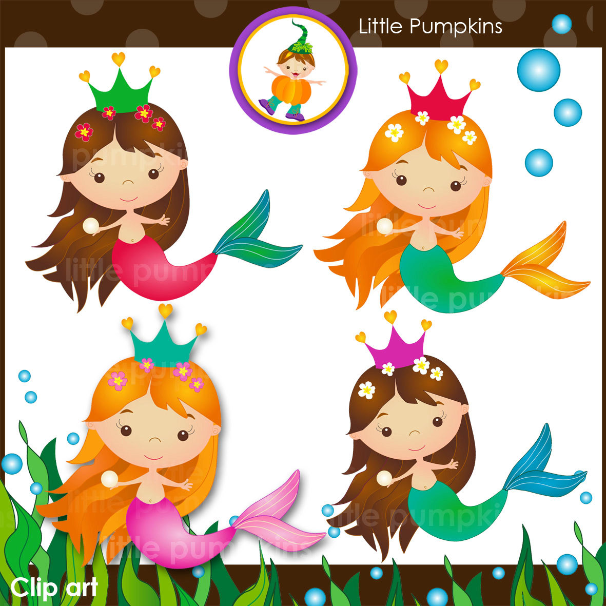 INSTANT DOWNLOAD Mermaid clip art set with sea weed page.