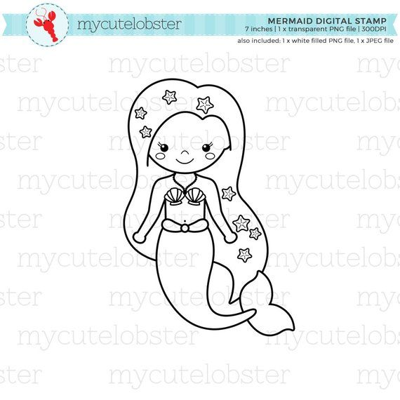 Mermaid Digital Stamp Clipart.