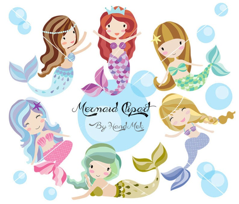 Cute Mermaid Clipart, Mermaid clipart PNG file.