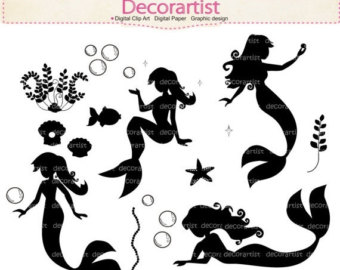 mermaid clipart silhouette on side #4