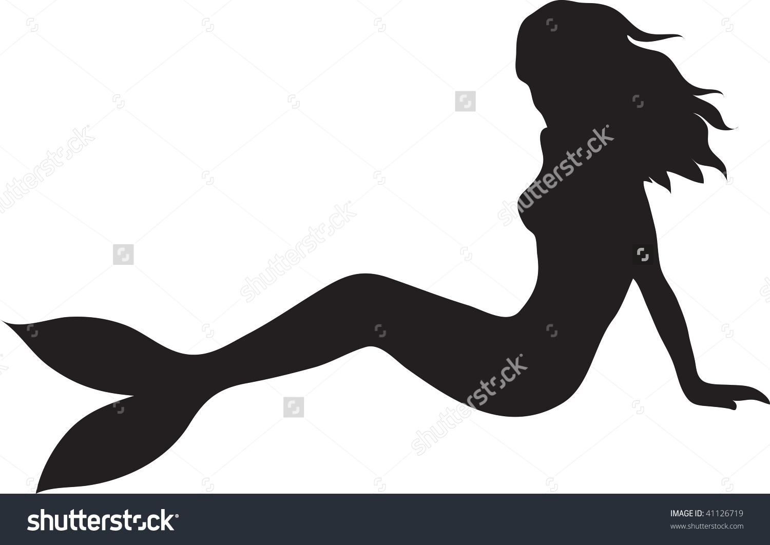 mermaid clipart silhouette on side #11