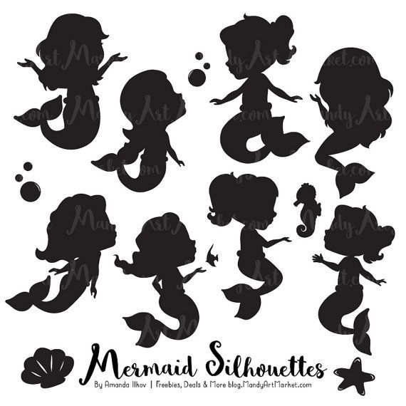 mermaid clipart silhouette on side #17