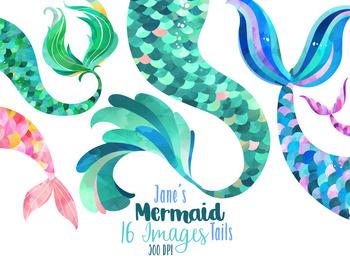 Watercolor mermaid tails clipart by digitalartsi tpt jpg.